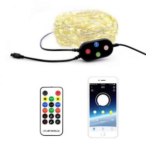 USB 5V Music Sync Bluetooth APP Control LED Copper String Lights Waterproof Copper Wire Lights Fairy Lights for Christmas Party Wedding with IR remote Control