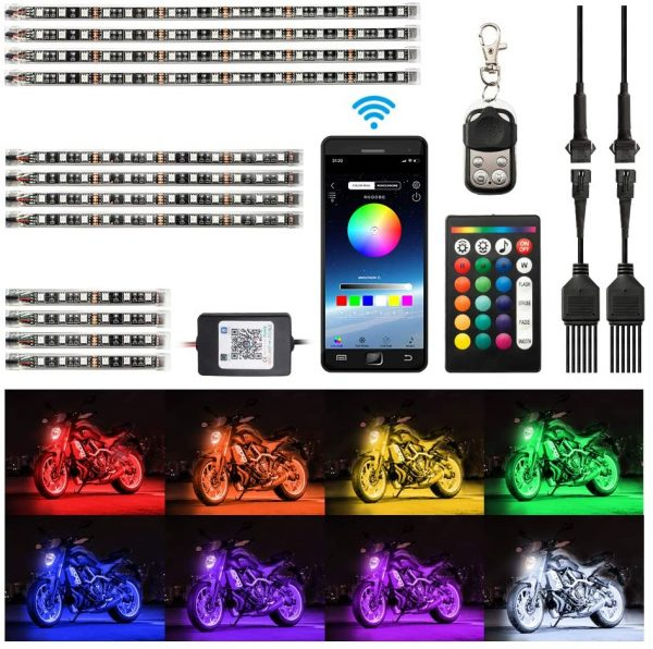 Motorcycle LED Light Kit Strips with APP IR RF Wireless Remote Controllers Multi-Color Underglow Neon Ground Effect Atmosphere Lights Lamp