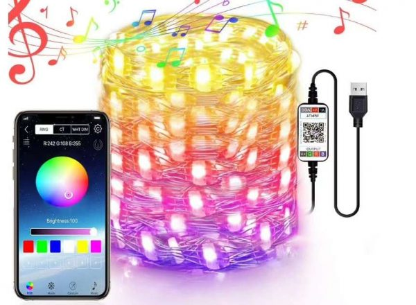 USB 5V Music Sync Bluetooth APP LED Copper String Lights Waterproof Copper Wire Lights Fairy Lights for Christmas Party Wedding with IR remote Control